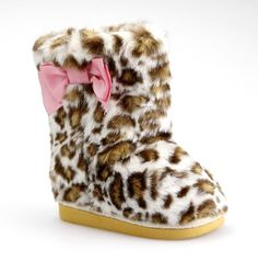 Super Cute Leopard Furry style baby Girls boot Shoes with pink bow Toddler size #skyhigh #Boots