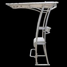 """Aluminum T-Top 86"""" with Rodholders & Light Center Console Boat T Top Marine 