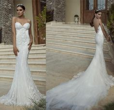 Backless Sexy 2015 Wedding Dresses With Spaghetti Appliques Mermaid Chapel Train Lace Tulle New Arrival Customed Galia Lahav Bridal Gowns Online with $115.3/Piece on Hjklp88's Store