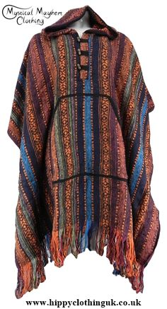 Nepalese Unisex Hippy Festival Thick Weave Cotton Poncho aaaaeaa1143f
