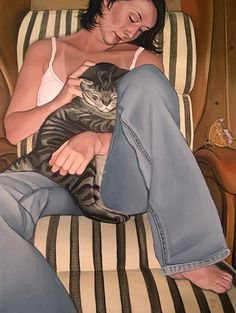 """Better Days"" is an acrylic painting ( self portrait) of Suzanne Clements with her #cat Lindsey."