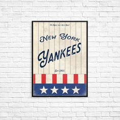 New York Yankees Baseball A3 Picture Art Poster Retro Vintage Style Print