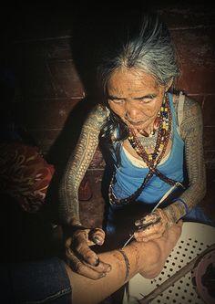 "Whang-Od tattooing traditional Kalinga tattoos. From Lars Krutak's book ""Kalinga Tattoo."""