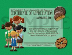 Girl Scouts Cookie Booth Sponser Award Certificate Custom Order. Business Plan Cadette Badge