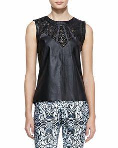 T7YPW Valentina Shah Valentina Leather Cutout Top