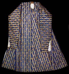 Heavy long sleeved dress belonging to Mahmut I (1730-54). Blue silk has stripes and stylized flowers, 18th century.