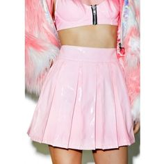 24HRS X Dolls Kill Princess Pastel Vinyl Skirt ($52) ❤ liked on Polyvore featuring skirts, pink skirt, pink high waisted skirt, knee length pleated skirt, pleated skater skirt and pleated circle skirt