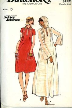 UNCUT 1970s Butterick 4679 Betsy Johnson Pattern Misses Caftan/Dress Bust 32