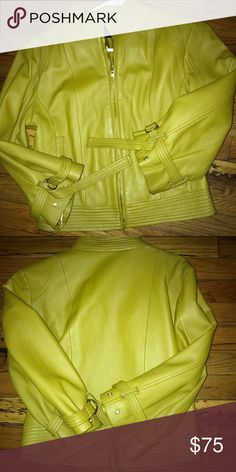 Arden B leather jacket Leather jacket belted sleeves color is between a lime and yellow Jackets & Coats