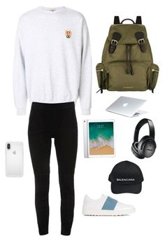 A fashion look from December 2017 featuring legging pants, laced up shoes and backpack bags. Browse and shop related looks. Airport Lounge, Elie Tahari, Bose, Balenciaga, Burberry, Valentino, Shoe Bag, Polyvore, Stuff To Buy