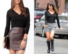 You can't go wrong with a classic black v-neck! This Forever 21 sweater is indistinguishable from Rachel's semi-sheer one. (similar)Forever 21 Essential Wool-Blend Sweater - $17.80 Worn with:Ryan Ryan necklace,Trina Turk shorts,Via Spiga boots