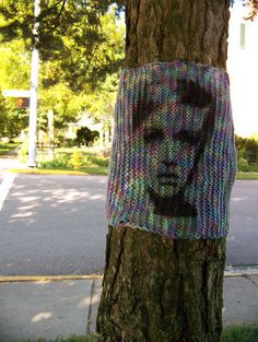 Ok, so yarn bombing just took on a whole other meaning. This is taking it to the next level.  Printing on it!