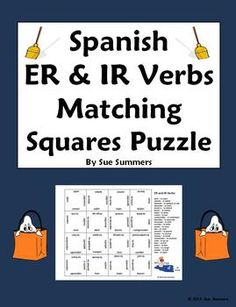 Spanish ER & IR Verbs Matching Squares Puzzle by Sue Summers - 24 Different Verbs. Use as a pair/partner or independent activity; the word list is good for pair drills. Spanish Grammar, Teaching Spanish, Spanish Language, English Vocabulary, Spanish Teacher, Middle School Spanish, Elementary Spanish, Spanish Classroom, Classroom Ideas