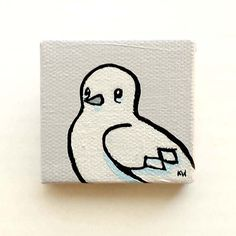 "White Dove Bird Painting Miniature Tiny Art on Canvas Acrylic 2""x2"" by Karen Watkins kmwatkins on Etsy"