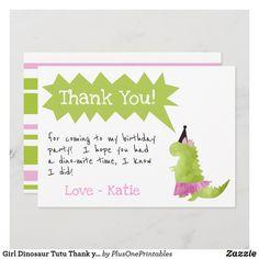 Girl Dinosaur Tutu Thank you Birthday Pink Tutu Invitation Tutu Invitations, Dinosaur Birthday Invitations, Dinosaur Birthday Party, Birthday Ideas, Shower Invitations, Girl Dinosaur, Cute Dinosaur, Thank You Note Cards, Pink Tutu