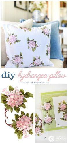 DIY Home Decor Hydrangea Throw Pillow