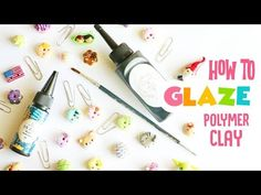 How I Glaze My Polymer Clay Charms (with UV Resin). Watch in HD :) In this video I talk you through how I glaze my polymer clay charms using UV resin! A lot of you have noticed how shiny my charms have become in some of my other videos, so Polymer Clay Tools, Sculpey Clay, Polymer Clay Canes, Polymer Clay Jewelry, Ceramic Clay, Porcelain Clay, Cold Porcelain, Uv Resin, Resin Art