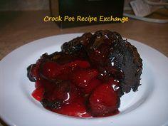 Crockpot cake using Dove baking mix. Chocolate covered strawberry chocolate dump cake!