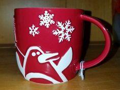 2007 Red Starbucks Coffee Mug White Penguin Snowman Snowflakes Christmas Tree VG