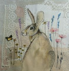 Textile art hare vintage lace mixed media free motion embroidery applique by Emily henson