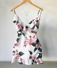 Sexy V Neck Dress Floral Mini Dress Ladies Ruffle Party Dresses Casual Trendy Dresses, Cute Dresses, Beautiful Dresses, Casual Dresses, Mini Dresses, Ball Dresses, Party Dresses, Mode Rockabilly, Dress Outfits