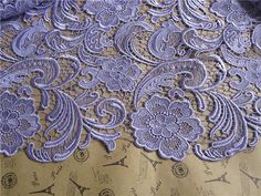 Graceful Purple Venice Lace Fabric Crocheted by Lacebeauty on Etsy, $29.99