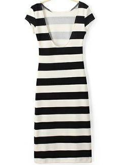 Minimal + Classic: Black & White Striped Short Sleeve Dress