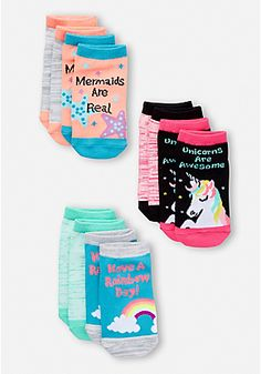 6 Pack Unicorn & Mermaid Socks