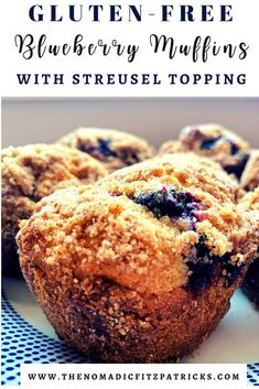 These gluten-free blueberry muffins with streusel topping are the perfect breakfast treat! Light and sweet - they taste like a muffin you'd buy in a coffee shop. Blueberry Streusel Muffins, Gluten Free Blueberry Muffins, Blue Berry Muffins, Cinnamon Muffins, Blueberry Crisp, Gluten Free Bakery, Gluten Free Sweets, Gluten Free Recipes, Gf Recipes