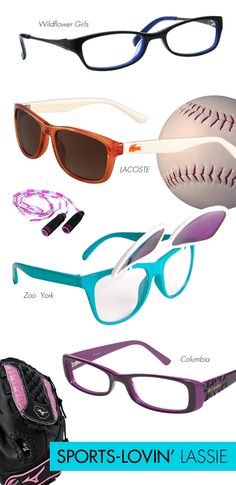 Sports-Lovin' Lassie: Ballet and cheerleading, just aren't her thing! She'd much rather be gettin' down and dirty with the boys! Let's face it, your daughter is a tomboy at heart! She's sure to prove her girl power on the court or field in any of these athletically inclined frames—think sports-inspired glasses in dark purple, navy, orange and aqua with minimal detailing, or clip-on frames that'll take her from inside to outside, or vice versa, in the blink of an eye!