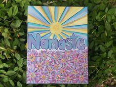 Items similar to Namaste Yoga Meditation Spiritual Art on Canvas in Acrylic Sun Flowers Colorful Good Vibes Bohemian Hippy Vibes Positivity on Etsy Namaste, Etsy Shop, Unique Jewelry, Handmade Gifts, Vintage, Art, Kid Craft Gifts, Art Background, Craft Gifts