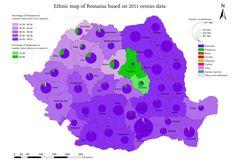 Ethnic map of Romania based on 2011 census data