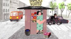 The Kiosk by Anete Melece Kiosk, Little Houses, Short Film, Wooden Toys, Pop Art, Animation, Draw, Clothes, Wooden Toy Plans