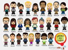 """A1 - ¿Quién es quién? [Personajes creados con la aplicación """"Pocoyízate"""" de Pocoyó: http://www.pocoyize.com/]"""
