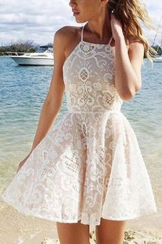 A-line White Halter Short Straps Lace Homecoming Dresses