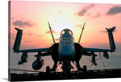 Stocktrek Images Premium Thick-Wrap Canvas Wall Art Print entitled The sun rises on an F/A18 Hornet, None
