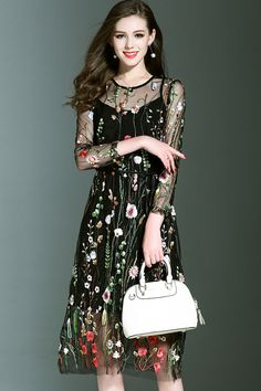 $92.99 Black Embroidered Two Pieces Dressproducts_id:(1000012964 or 1000012317 or 1000012612 or 1000012413)