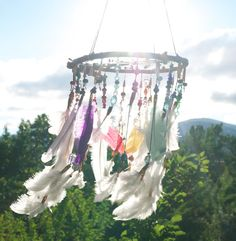 Rainbow Dreamcatcher Mobile Answers In The Sky by TheBigSkyPlace, $150.00