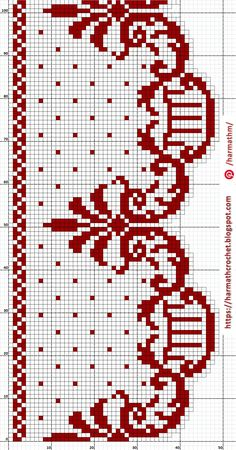 Filet Crochet Charts, Red Pattern, Crochet Lace, Diy And Crafts, Crochet Patterns, Cross Stitch, Embroidery, Knitting, Counted Cross Stitches