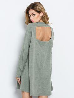 Green Long Sleeve Backless Casual Dress 12.99