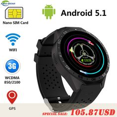 8ca95e7af68 KW88 Kingwear Android 5.1 Smart Watch Phone MTK6580 quad core 1.3GHZ 4GB  ROM 512MB RAM