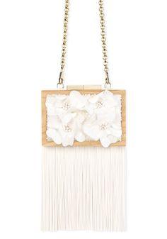 WWW.LAURAFED.COM #bag #cluch #wood #fashion #spring #summer #luxury #accessories #LAURAFED #bride #wedding #white #flower