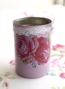 Kaela Elliott Napkin Decoupage on Tin Cans