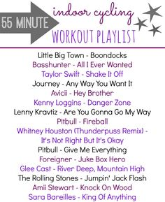 Spinning Class Playlist - A 55 minute workout playlist for your next indoor cycling class Workout Playlist, Spin Playlist, Workout Songs, Movie Workouts, Playlist Music, Playlist Ideas, Spin Bike Workouts, Cardio Workouts, Workout Tips