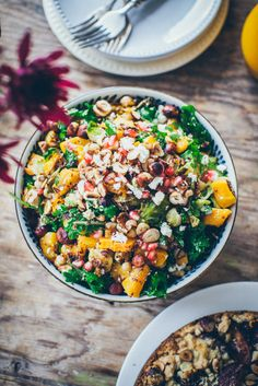Autumn salad with pumpkin, Brussels sprouts and tahini sauce
