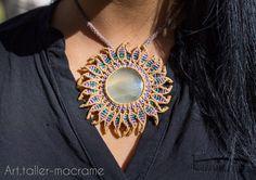 Quiero compartir lo último que he añadido a mi tienda de #etsy: Collar Macramé, piedra Agua marina, joyería hecha a mano, étnico, natural, hippie chic, artesanal. http://etsy.me/2ikvkwF #accesorios #marron #morado #sol #macrame #hechoamano #etnico #artesanal #collar