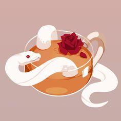 La lune et le soleil — reh-sa: Rose tea ☕️🌹 Cute Animal Drawings, Cute Drawings, Pretty Art, Cute Art, Cute Reptiles, Cute Snake, Snake Art, Aesthetic Art, Art Sketches