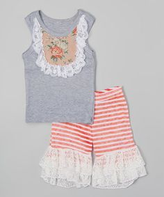 Loving this Gray & Coral Tank & Ruffle Shorts - Infant, Toddler & Girls on #zulily! #zulilyfinds