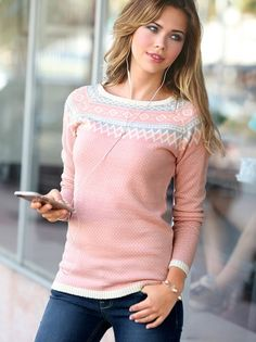 Jersey mujer de manga larga jacquard tricot con hilos metalizados