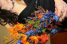 Blue & Orange Bridesmaid Bouquet @Danielle Pipitone Photos by @Krista Rose